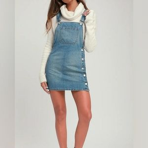 free people louise overall skirt denim light wash